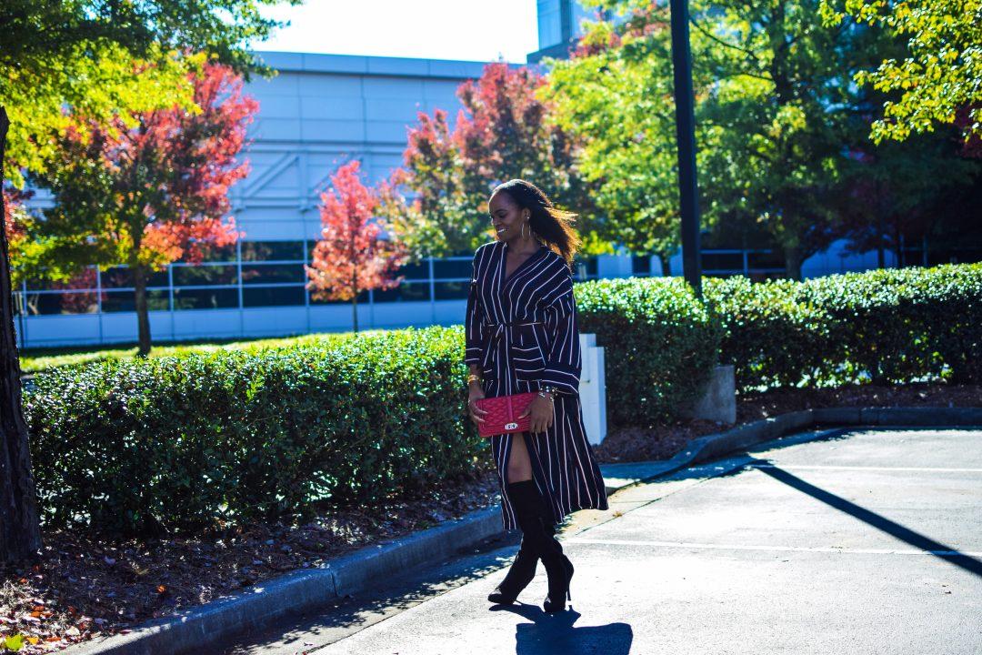 Long striped fashion nova kimono as dress